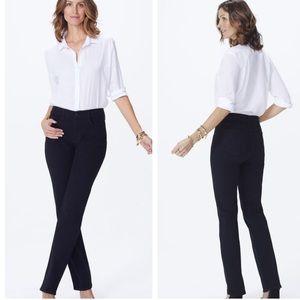 Nydj Marilyn straight black dark jeans comfort